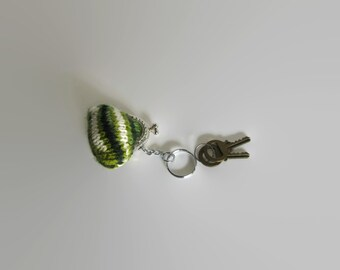 Tiny Coin Purse Keychain Knitted in Green White Wool