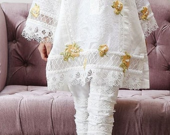 White Cotton Chikan Shirt with Laser Cut Embroidery, Embellished with Multiple Stylish Laces and Slim Cut Lace Pants