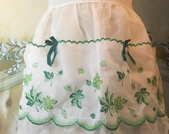 Vintage Sheer Green and White Apron