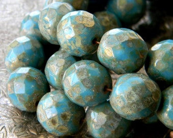 Vintage Sky (6) -Czech Glass Faceted Rounds 12mm