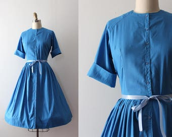 vintage 1950s shirtwaist dress // 50s blue cotton dress
