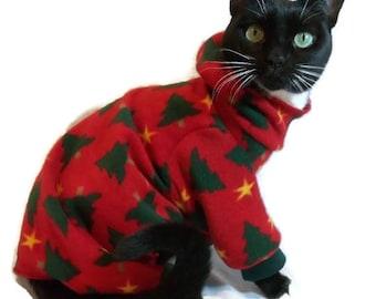Christmas Cat Pajamas with hood-Christmas Pajamas-Red Christmas Pajamas for Cats-Pajamas for Cats-Cat Pajamas-Cat Clothes-Gift for Cat Lover