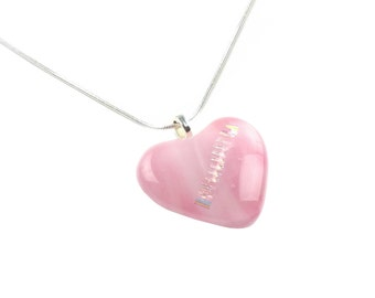 Pendant Necklace, Large Pink Heart with Gold Diagonal Design