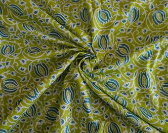 Green and Blue Soft Fabric, Voile Cotton Printed Fabric, Indian Fabric, Fabric Sold By Yard, Fabric for Beachwear, Sarongs, Dress Fabric