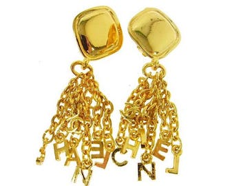 Authentic Vintage Chanel Gold Plated Letter Charms Dangle Earrings
