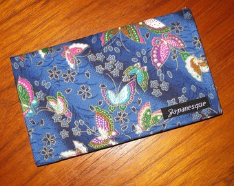 Checkbook Cover Japanese Butterflies Design Blue