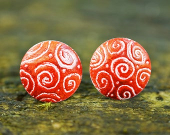 Red Dome Stud Earrings with Spirals, Enamel Earrings, Hand Drawn Earrings, Dome Earrings, Enamel Jewelry