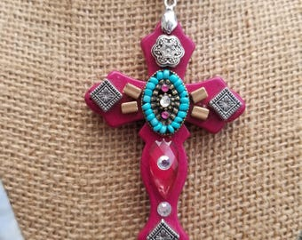 Southwestern Beaded Cross Necklace