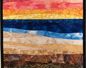 Art Quilt Abstract colorful seascape sunset, Wall Quilt, Wall Hanging