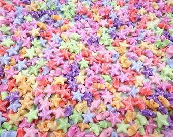 100PCS Mixed color tiny plastic star shape beads