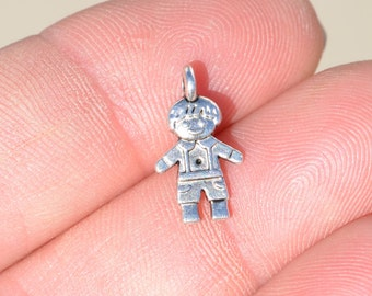 12  Silver Little Boy Charms SC1309