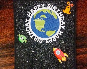 Out of this World birthday handmade card birthday card for kid birthday personalized card handmade custom  birthday card greeting card