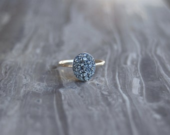Crushed Crystal Druzy 14kt Gold OVAL Ring