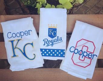 Set of 3 Kansas City Royals burp cloth set for baby girl or boy. Royals, Kansas City Royals burp cloth, baby gift, royals baby, baseball bab
