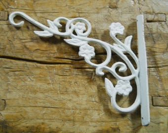 garden hooks. cast iron victorian style white scroll plant hook garden hanger wall barn fence hooks a