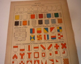 French Lithograph - Coat of Arms - 1920s color lithograph - original - Blason