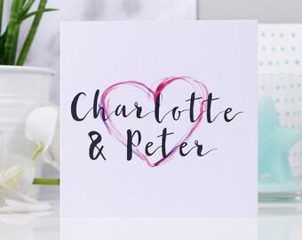 Heart Anniversary Card - Couples Card - Heart Anniversary Card - Personalised Anniversary Card - Anniversary Card