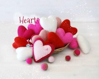 Felt Hearts - Large and Medium Wool Felt Hearts - 9cm Wet Felted Hearts - 6cm Felted Hearts - Felted Hearts - Felt Heart - Wool Felt Hearts