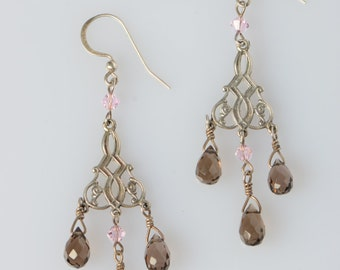 Faceted Smokey quartz, sterling silver  chadelier &  pink Swarovski crystal