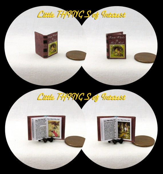 SNOW WHITE And ROSE Red Miniature Book Dollhouse 1:12 Scale Readable Illustrated Book