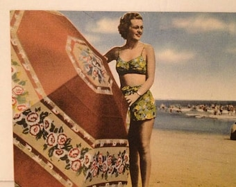 ON SALE Vintage 1950's Pin-Up Girl Bathing Suit Beach Beauty Umbrella Ocean Linen Old