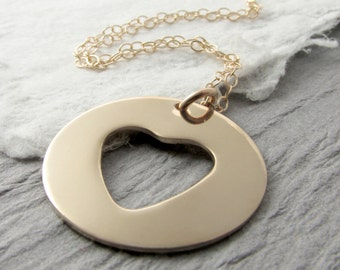 14k Solid Gold Heart Necklace Personalized 14k Gold Necklace Heart Necklace Gold Heart Washer Necklace Mother's Day Gift Holiday Gift