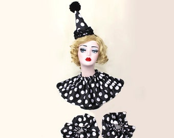 Clown Hat, Collar and Cuffs, Circus Costume, Carnival Costume, Halloween Costume, Clown Hat, Burlesque Costume, Birthday Hat, Glam Clown
