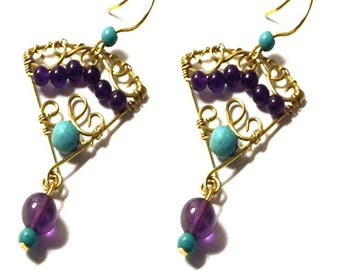 Turquoise and Amethyst gemstones and bronze earrings