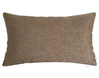 Tan Brown Cosmo Linen Decorative Throw Pillow Cover / Pillow Case / Cushion Cover / 12x20""