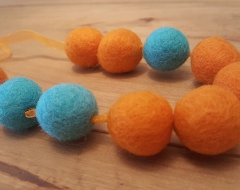 Orange and turquoise felt ball necklace, Statement necklace