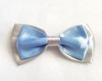 Silver + Baby Blue Satin Double Bow tie for kids toddler or baby Sizes NB - 7 Yrs