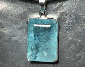52 Carat Rectangle Faceted Aquamarine Pendant