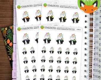 Wizard Unicorns - Unicorn Magic Witch Scarf - Planner Stickers (C0032)