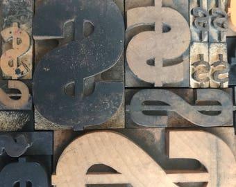 Letterpress Dollar Sign / Dollar Sign / Vintage Letterpress / Dollar Sign Letterpress / Wood Dollar Sign / Dollar Symbol