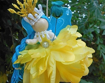 Yellow & Teal Blue Waldorf Flower Petal Fairy, Faerie Doll One of a Kind By Willow Bloome