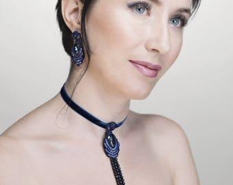 Choker necklace with pendant in dark blue color ( avanturine, Swarovski) Free Express shipping