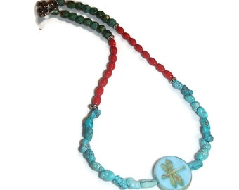 Choker Necklace Dragonfly Focal Turquoise Coral Czech Glass  N42