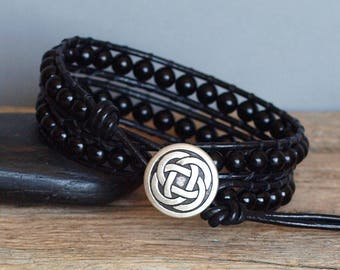 Mens Black Obsidian and Leather Double Wrap Bracelet, Black Gemstone Bracelet, Mens Beaded Leather Obsidian Stone Jewelry, Bohemian Jewelry