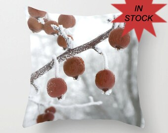 Red Pillow Covers, Frosted Branches, Decorative Bedroom Cushion, Red and White, Rustic Home Decor, Apples, Office Lounge, Winter Theme