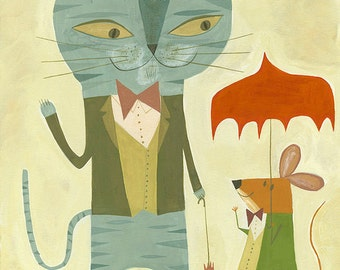 Simon meets a friend for lunch. Limited edition print by Matte Stephens.