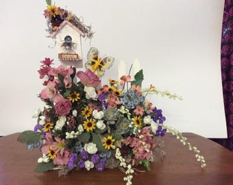Birdhouse, Butterfly floral fence garden