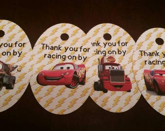 Lighting McQueen Cars Thank you Tags, Cars 1, Cars 2, Cars 3, Racer, Race car, Radiator Springs, Mater, Race Track