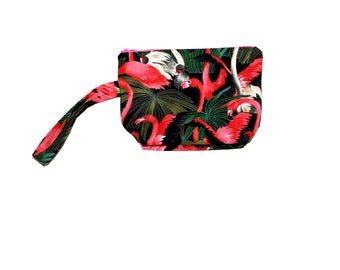 Flamingo Cosmetic Bag, Cute Wristlet, Small MakeUp Carrier, Pretty Pouch, Flamingo Gift , No Shipping Fee, Ready To Ship, TODAY, AGFT 816