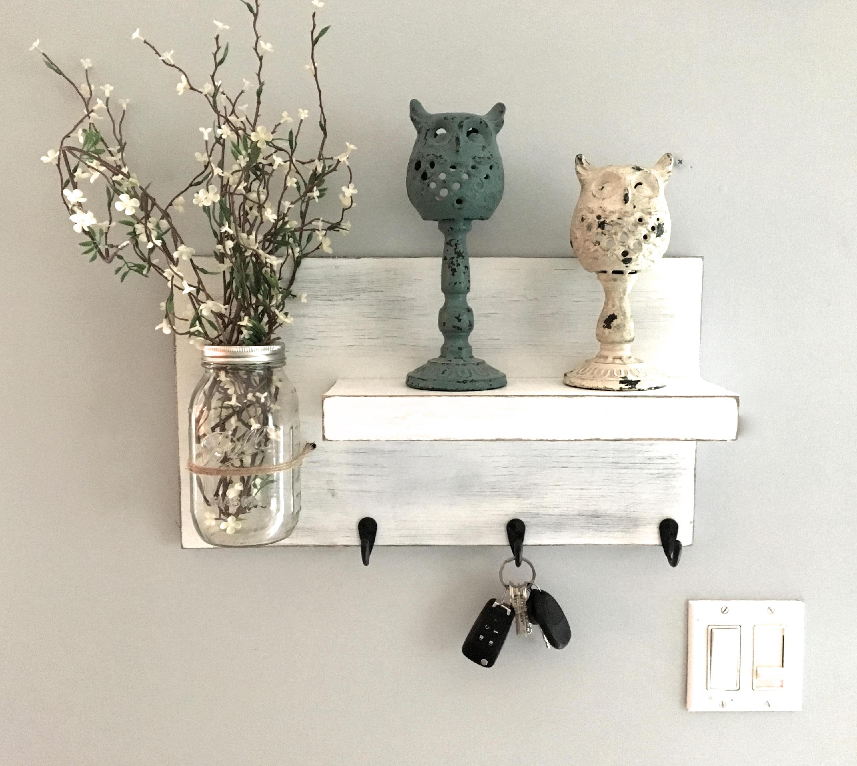 entryway shelf key holder wall vase shelf with hooks