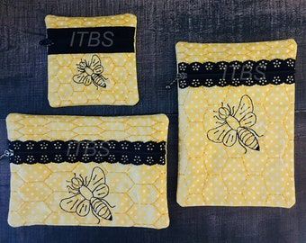 Busy bee exposed zipper pouch