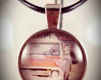 Vintage truck glass pendant. Glass cabochon bezel pendant with original vintage truck photo
