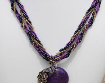 Women necklace Peacock rhinestone silk cords and glass beads