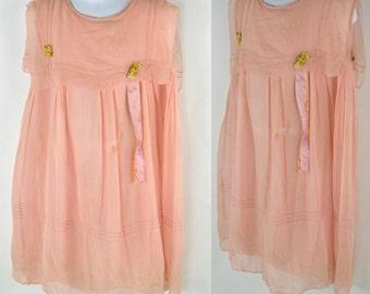 Vintage Rare Pink Muslin Sleeveless Girls Dress, Toddler Girl Dress, Needs TLC, Wounded Bird