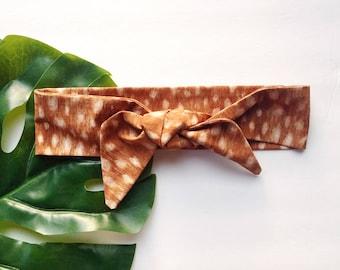 Tan Deer Print - Headband Headscarf Neckscarf Adult