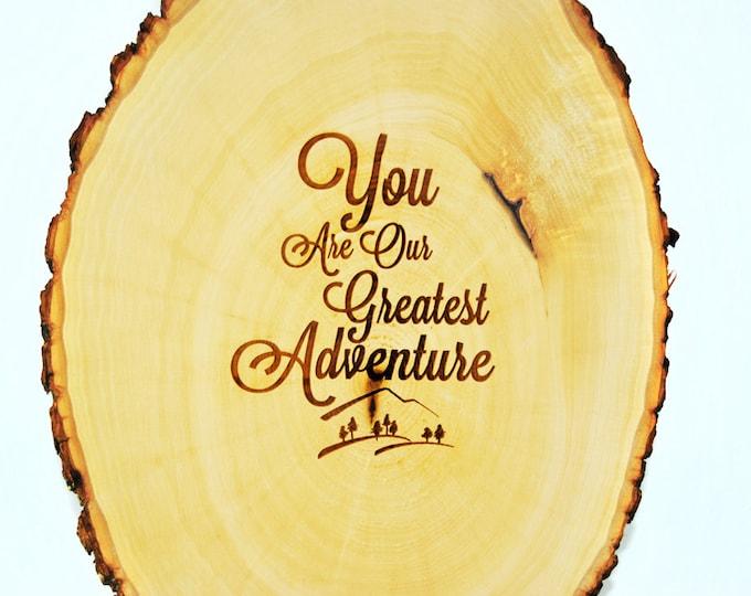 Tree Slice Nursery decor baby shower guest book alternative 'Greatest Adventure'- PEN INCLUDED